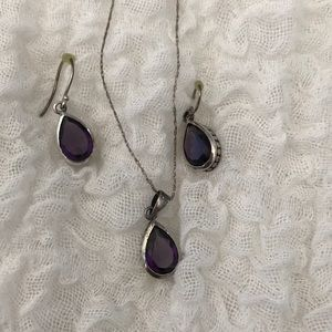 Necklace and earrings silver amethyst